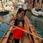 Rowing through the smaller, calmer canals.