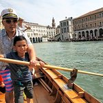 Helping my son through the Grand Canal.