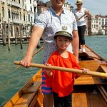 Helping my daughter on the Grand Canal.