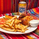 Pio Chicken with fries salad and Inka Cola