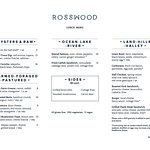 Rosswood Lunch Menu