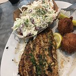 trigger fish with hush puppies and coleslaw....