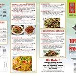 Front side of menu