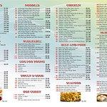 Back side of menu