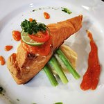 The delicous grilled salmon