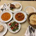 Lamb, rice, vegetables, salad