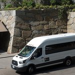 Garden shuttle bus and the new, authentic Castle Wall