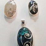 Heidi's  gemstone setting 2 day course - moonstone/labordorite and jasper pendants