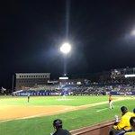 Frawley Stadium at night
