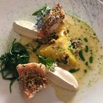 Red perch with spinach and parsley root mousse