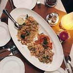 spaghetti scampi and trio pasta