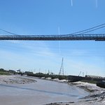 Newport Transporter Bridge from right hand bank of the River Usk as you look at the photo