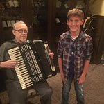 Tommy and the accordion player at Poppy's