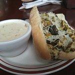 Chicken Pesto Sandwich & Homemade Clam Chowder
