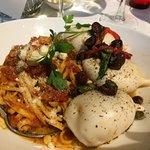 Spicy pasta with stuffed calamari