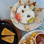 Saganaki, calamari and tzatziki...all delicious!