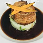 Belly Pork, baby carrots, parsley mash, red wine jus
