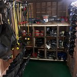 Equipment storage room for Rabaul Dive Adventures.