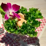 Big Teddy's Burger, avocado appetizer, shrimp salad