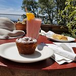 Strawberry banana smoothie & fresh gluten free muffin
