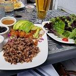 Fish tacos sans the corn tacos & great salad