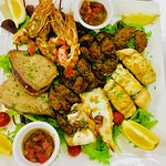 Mixed grilled fish platter for 2