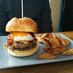 Burger with truffle, bacon, egg, BBQ sauce, hommemade fries