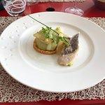Cheescake Parmesan & Asperges, escabèche de Saint Pierre, vinaigrette Savora