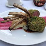 Lamb chops with scallop potatoes and vegtables