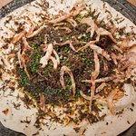 Taco of Beef Bourguignon, red Wine, Crispy Onions