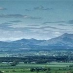 View of distant highland mountains