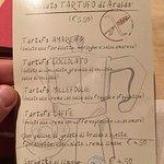 Dessert options. Tartufo is not literally truffle, it's an Italian dessert based on ice cream.