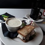 Chicken salad sandwich and New England clam chowder