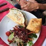 Quesadilla, chimichanga and salad