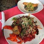 Salad and fish taco