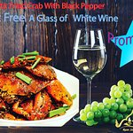 Special promotion 👌🌺🌺 Order Stir Fried Crab with black Pepper sauce get Free a glass of White