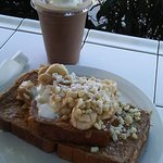 Awesome French toast withbnanas and Macadamia nuts and blended coffee