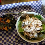 Red Neck chicken salad and kale sweet potato side. Great!