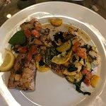 "mahi ""Carolina style"" and veggies"