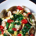 LINGUINE, clams, spinach, cherry tomatoes