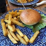 Delicious veggie burger and thick cut chips