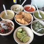 Delicious salsas and pico de gallo, if you're up for the challenge try them all.