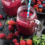 Smoothies made from fresh frozen fruit and berries