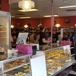 View of the counter and donuts