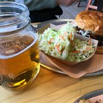 Burnt Ends Sandwich, beer and coleslaw