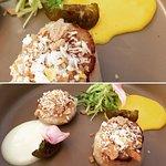 capesante croccanti , spuma di zabaione salato zucchine verdi e chinotto candito di Savona.