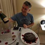 Birthday cake & champagne