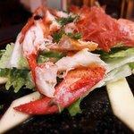 """Lobster salad"" (lettuce,mint,extra virgin olive oil, lemon, fresh mango, crispy parma ham)"