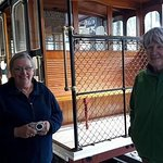 Carol and Dawn with the very old cable car