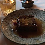 Cooked berry pudding with screech rum sauce!